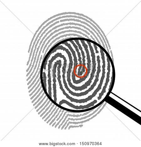 On the image presented fingerprint under a magnifying glass