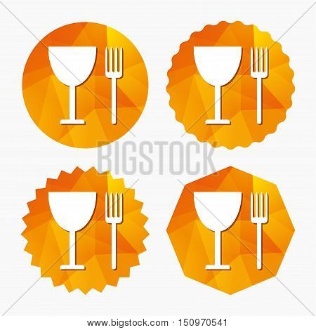 Eat sign icon. Cutlery symbol. Fork and wineglass. Triangular low poly buttons with flat icon. Vector