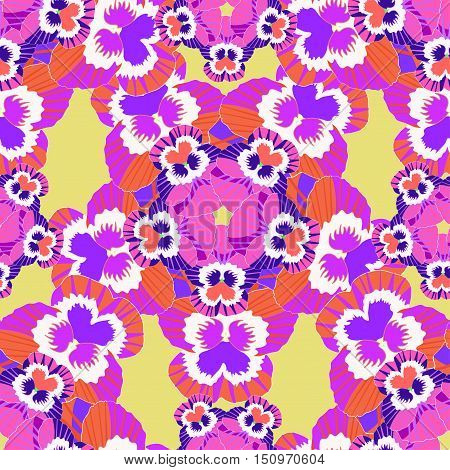 Seamless Flower Pattern Pink Violet Pansies On An Orange Background. Vector Illustration
