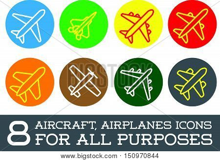 Aircraft Or Airplane Icons Set Collection Colorful Vector Silhouette