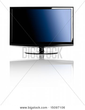 Moderna TV lcd isolado sobre um fundo branco com reflexão