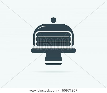 Cake In Glass Holder Serving Stand Vector Element Or Icon, Illustration Ready For Print Or Plotter C