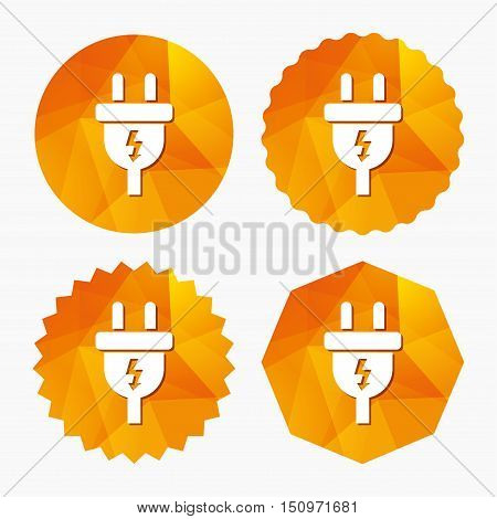 Electric plug sign icon. Power energy symbol. Lightning sign. Triangular low poly buttons with flat icon. Vector