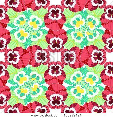 Seamless Pattern Flowers Carpet Of Red Violet Pansies. Vector Illustration