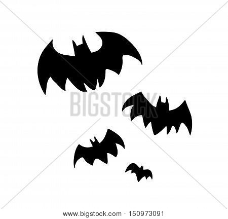 Flying Bats Silhouette. A hand drawn vector silhouette illustration of a group of bats flying.
