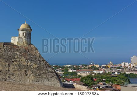 Tower on the top of San Felipe de Barajas fortress in Cartagena Colombia. Historic fortress locates on the hill overlooking the walled city.