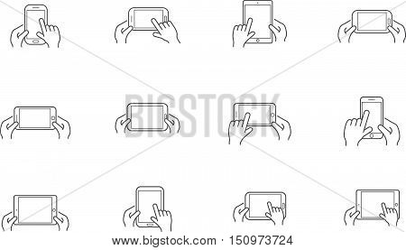Set Of Icons With Hands Holding Smart Device With Gestures