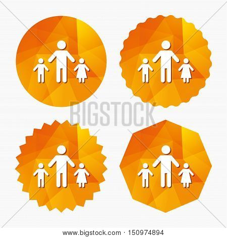 One-parent family with two children sign icon. Father with son and daughter symbol. Triangular low poly buttons with flat icon. Vector