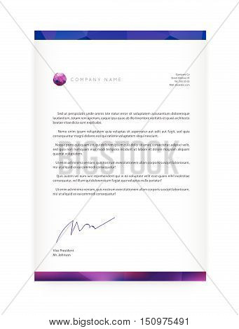 Visual Identity With Letter Logo Elements Style Letterhead And Geometric Blur Gradient Mesh Design S