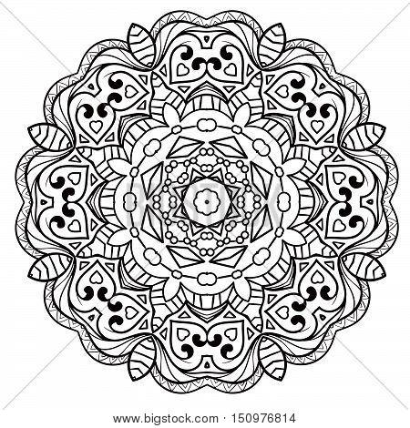 Ethnic Fractal Mandala Vector Meditation Looks Like Snowflake Or Maya Aztec Pattern Or Flower Isolat