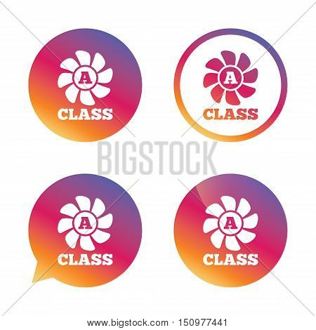 A-class ventilation icon. Energy efficiency sign symbol. Gradient buttons with flat icon. Speech bubble sign. Vector