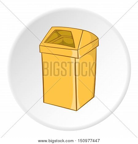 Yellow trash icon. Cartoon illustration of yellow trash vector icon for web