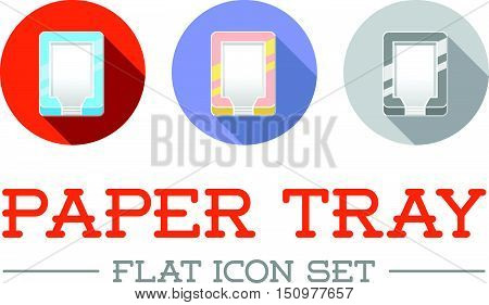 Horizontal Trays For Paper In Flat Vector Icon Design Set