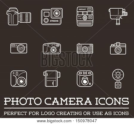 Set Of Vector Photo Or Camera Elements And Video Camera Signs Illustration Can Be Used As Logo Or Ic
