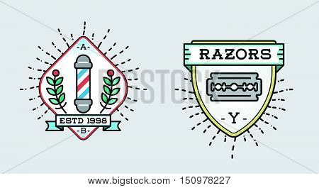 Retro Design Logotype Set. Diy Handmade Craft Art Illustration Vintage Vector In Sailor Circus Freak