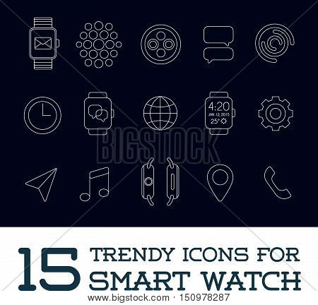 15 Fresh Smart Watch Trendy Icons eps 10