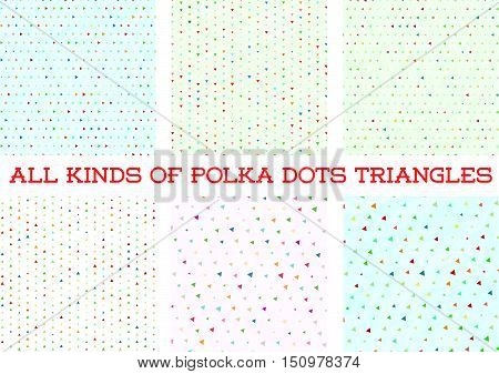 Polka Dot Triangle Colorful Design In Vector Background Set