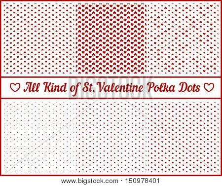All Kind Of St. Valentine's Hearts Polka Dots Set Of Six