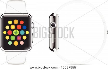 Trendy Colorful Vector Illustration Icon Of Smart Watch With Smart Interface