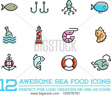 Set Of Vector Sea Food Elements And Sea Signs Illustration Can Be Used As Logo Or Icon In Premium Qu