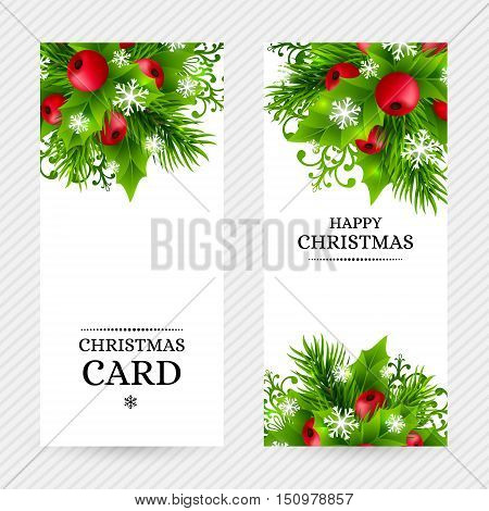 Christmas banners with fir branches, holly leaves, red holly berries and glowing snowflakes. Winter holiday backgrounds with decorations and greeting text. Vertical vector illustration.