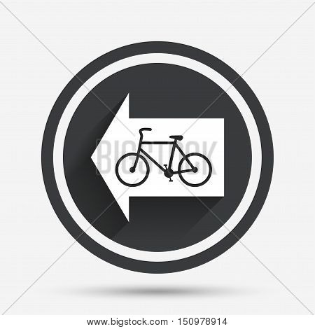 Bicycle path trail sign icon. Cycle path. Left arrow symbol. Circle flat button with shadow and border. Vector