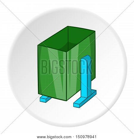 Green trash on legs icon. Cartoon illustration of green trash on legs vector icon for web