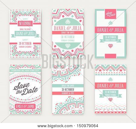 Set Of Vector Design Awesome Wedding Invitation Template With Mandala Or Doodles Theme. Ideal For Sa