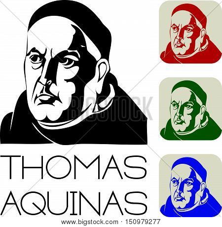 Thomas Aquinas Vector Illustration Eps 10 Silhouette