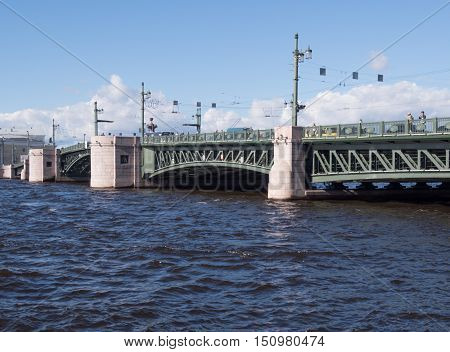 Saint Petersburg Russia September 06 2016: A view of the spans of the Palace bridge in Sunny day in St. Petersburg Russia.
