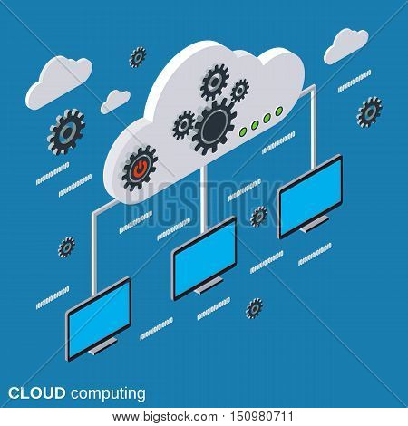 Cloud computing, network, remote data storage flat isometric vector concept illustration