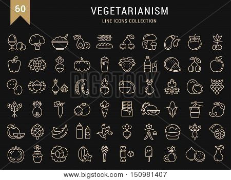 Set vector line icons in flat design Vegetarianism and Vegan with elements for mobile concepts and web apps. Collection modern infographic logo and pictogram.