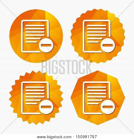 Text file sign icon. Delete File document symbol. Triangular low poly buttons with flat icon. Vector