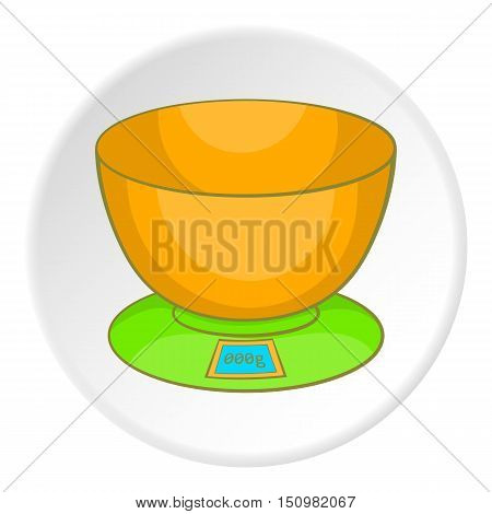 Kitchen scales icon. Cartoon illustration of kitchen scales vector icon for web