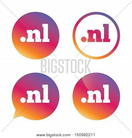 Domain NL sign icon. Top-level internet domain symbol. Gradient buttons with flat icon. Speech bubble sign. Vector