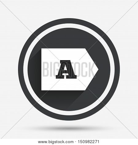 Energy efficiency class A sign icon. Energy consumption symbol. Circle flat button with shadow and border. Vector