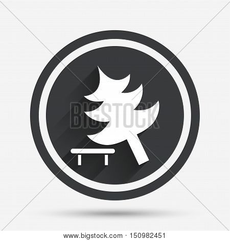 Falling tree sign icon. Caution break down christmas tree symbol. Circle flat button with shadow and border. Vector