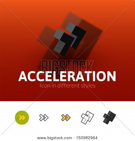 Acceleration color icon, vector symbol in flat, outline and isometric style isolated on blur background