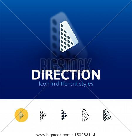 Direction color icon, vector symbol in flat, outline and isometric style isolated on blur background