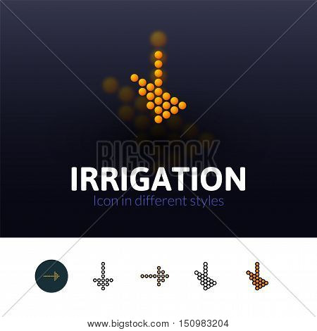 Irrigation color icon, vector symbol in flat, outline and isometric style isolated on blur background