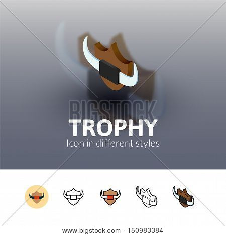 Trophy color icon, vector symbol in flat, outline and isometric style isolated on blur background