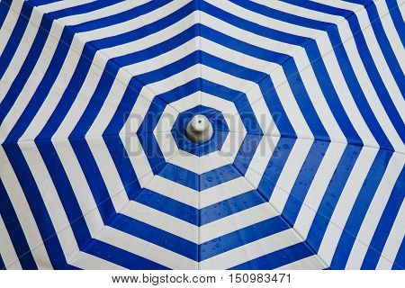 Wet Blue White Striped Octagonal Umbrella Macro