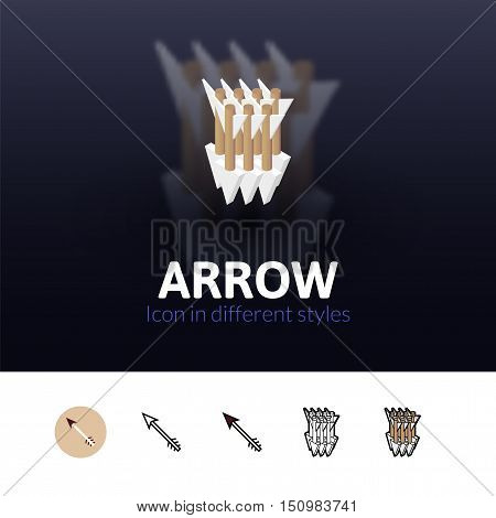 Arrow color icon, vector symbol in flat, outline and isometric style isolated on blur background