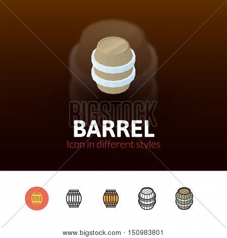 Barrel color icon, vector symbol in flat, outline and isometric style isolated on blur background