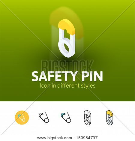 Safety pin color icon, vector symbol in flat, outline and isometric style isolated on blur background