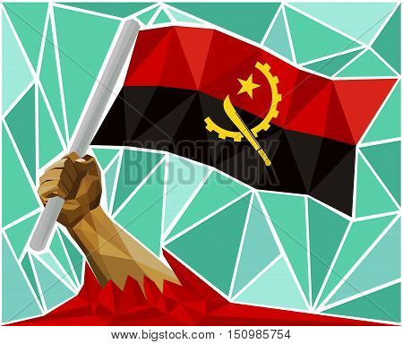Arm Raising The National Flag Of Angola