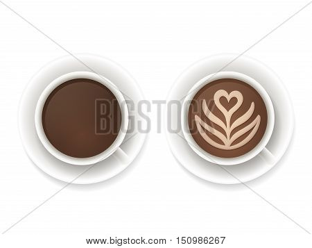 Realistic coffee cups top view. Black coffee and latte foam art isolated vector illustration.