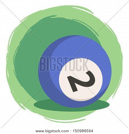 Billiard Ball Number 2 Two Blue Vector Illustration