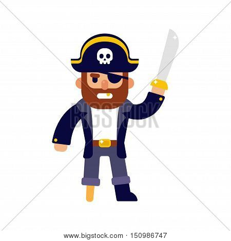 Angry cartoon pirate with sword. Modern flat style vector illustration.