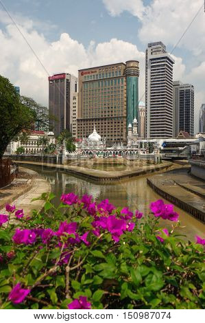 KUALA LUMPUR MALAYSIA - JANUARY 16 2016: Historic mosque of Masjid Jamek It was built in 1909 and one of the oldest mosques in KualaLumpur located at the confluence of the Klang and Gombak River.